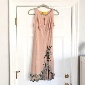 Catherine Malandrino Silk Floral Appliqué Dress